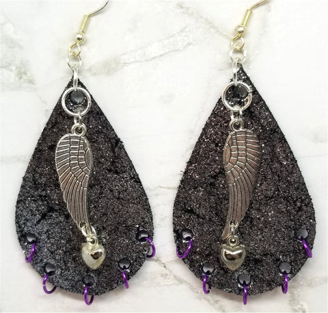 "Silver Finish Tear Drop Shaped Real Leather Earrings with Wing and Heart Charms and Purple Ring ""Piercings"""