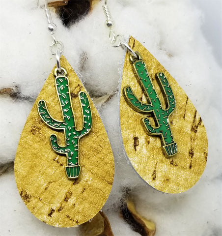 Tan Real Leather Earrings with a Cactus Charm Overlay