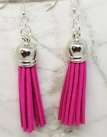 Real Leather Suede Hot Pink Tassel Earrings