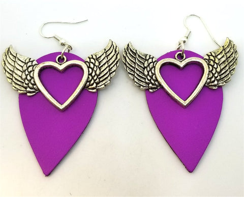 Fuchsia Teardrop Leather Earrings with Winged Heart Charms