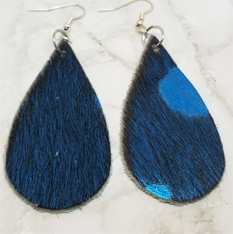 Metallic Blue Hair on Hide Leather Long Teardrop Earrings