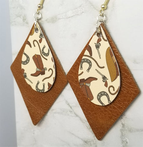 Cowboy Themed Faux Leather on Top of Brown Real Leather Diamond Shaped Earrings