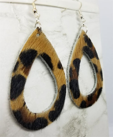 Leopard Print Hair on Hide Real Leather Tear Drop Cut Out Earrings
