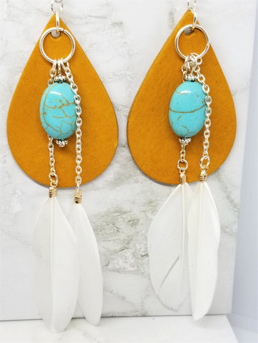 Southwestern Inspired Tan Leather Earrings with Turquoise Magnesite and White Feather Dangles