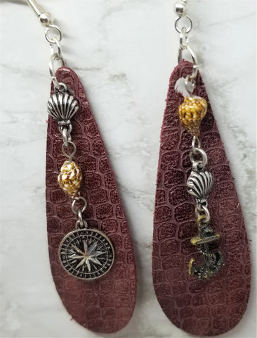 Elongated Teardrop Bronze Colored Nautical Themed Leather Earrings
