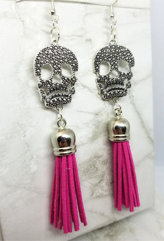 Large Skull with Real Leather Suede Hot Pink Tassel Earrings