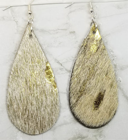 White and Gold Hair on Hide Leather Tear Drop Earrings
