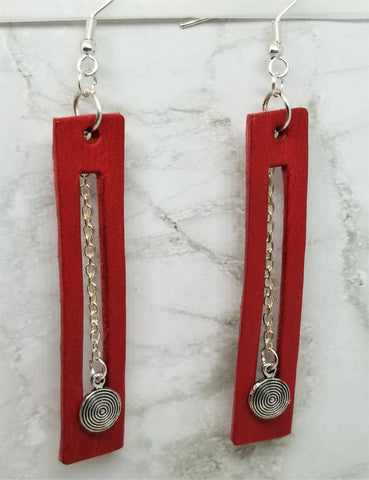 Red Bar with Cut Out Vegetable Tanned Leather Earrings with Chain Dangle