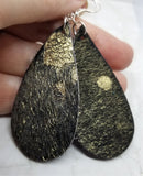 Black and Gold Hair on Hide Leather Tear Drop Earrings