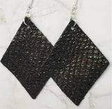 Black Shiny Scales Diamond Shaped Real Leather Earrings