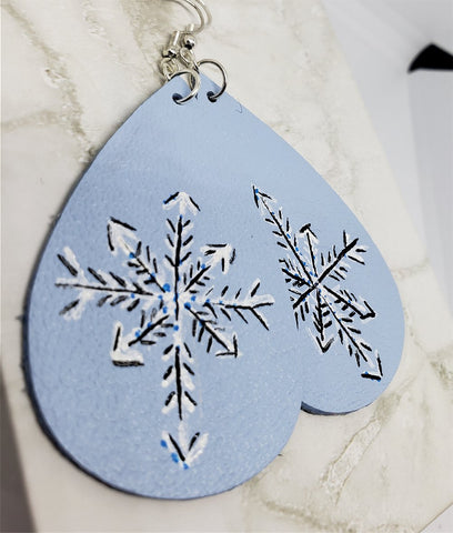 Hand Painted Snowflake on Icy Blue Real Leather Teardrop Shaped Earrings