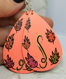 Hand Painted Autumn Foliage on Peach Real Leather Teardrop Shaped Earrings