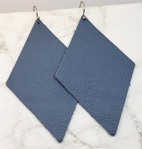 Blue Leather Diamond Shaped Real Leather Earrings