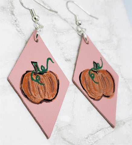 Hand Painted Pumpkin on Dusty Pink Real Leather Diamond Shaped Earrings