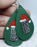 Hand Painted Santa Hat with Metal HoHoHo Embellishment on Green Real Leather Teardrop Shaped Earrings