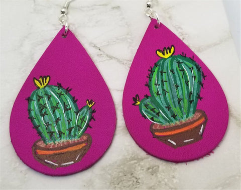 Hand Painted Cactus on Fuchsia Real Leather Teardrop Shaped Earrings