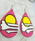 Salmon Colored Teardrop Earrings with Hand Painted Sun and Clouds OOAK