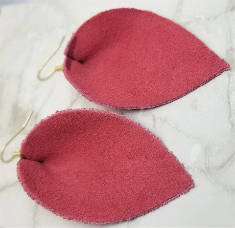 Salmon Pink Suede Leather Leaf Earrings
