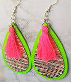 Neon Green Tear Drop Real Leather Earrings with Gold Striped Leather and Neon Pink Colored String Tassels