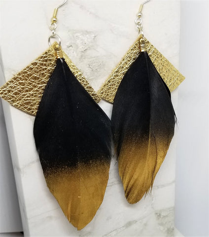 Metallic Gold Fan Shaped Leather Earrings with Black and Gold Feathers