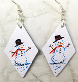 Hand Painted Snowman on White Real Leather Diamond Shaped Earrings