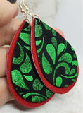 Red Suede Leather Teardrops with Black and Green Scrolling Real Leather Teardrop Overlay Earrings