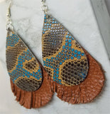 Brown and Turquoise Snakeskin Patterned Real Leather with Fringed Brown Real Leather Earrings