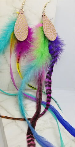 Crazy Long Colorful Feather Earrings with Pink and Gold Leather Teardrops