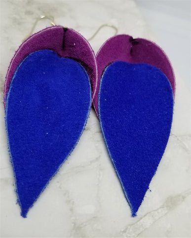 Purple and Blue Suede Leather Leaf Earrings