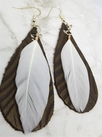 Brown Embossed Teardrop Shaped Leather Earrings with White Feather Overlay