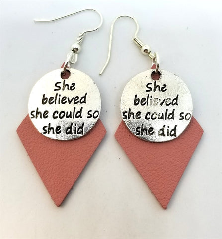 Pink Diamond Leather Earrings with She Believed She Could So She Did Charms
