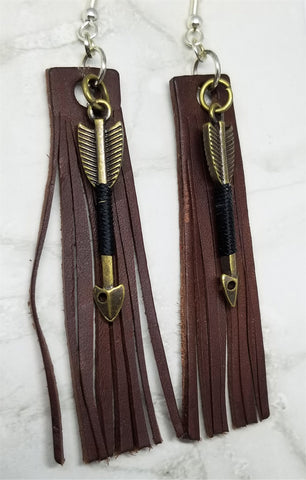 Brown Fringed Leather Rectangle Strip Earrings with Arrow Charm