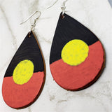 Australian Aboriginal Flag Real Leather Teardrop Shaped Earrings