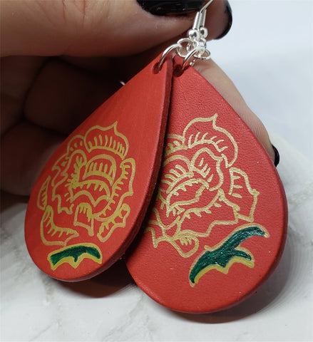 Hand Painted Tattoo Rose Real Leather Teardrop Shaped Earrings