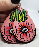 Hand Painted Flower on Salmon Colored Real Leather Teardrop Shaped Earrings