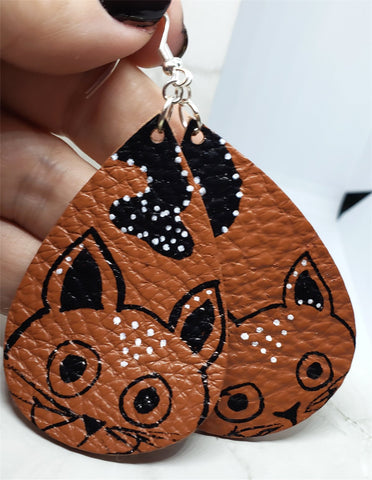 Hand Painted Cat on Brown Real Leather Teardrop Shaped Earrings