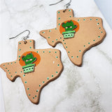Texas Shaped Real Leather Earrings with Cactus Embellishment
