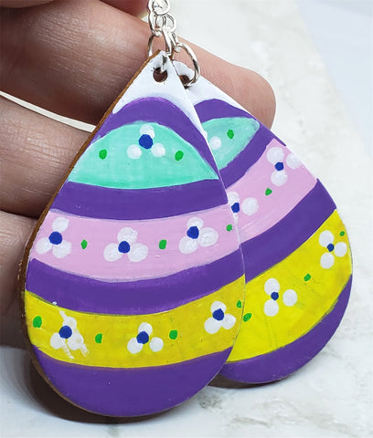 Easter Egg Tear Drop Shaped Real Leather Earrings