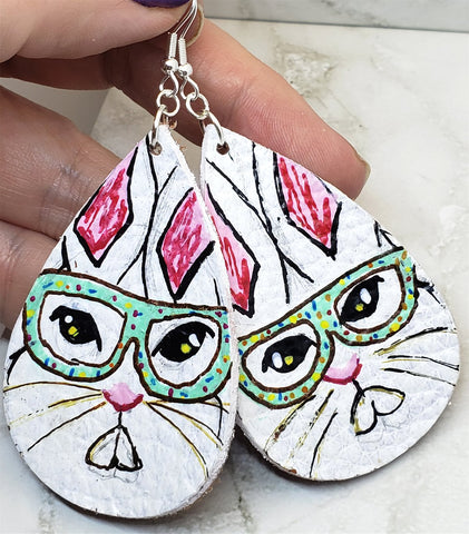 Nerd Bunny Tear Drop Shaped Real Leather Earrings