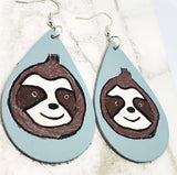 Hand Painted Sloth Real Leather Teardrop Earrings