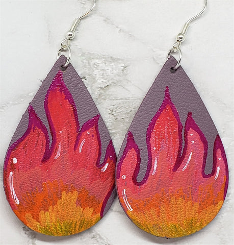 Hand Painted Flames on Mauve Real Leather Teardrop Shaped Earrings