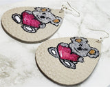Koala Bear Hugging a Heart Hand Painted FAUX Leather Teardrop Shaped Earrings