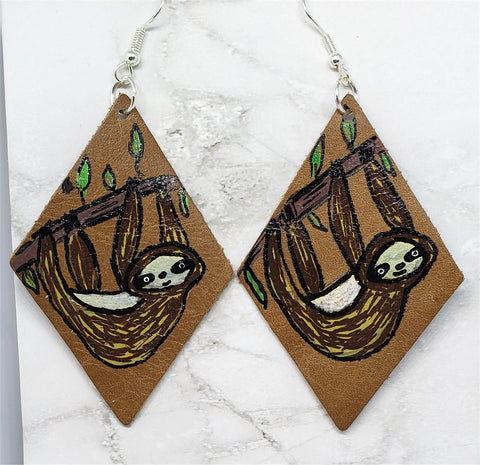 Hand Painted Sloth Real Leather Diamond Shaped Earrings