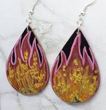 Hand Painted Flames on Black Real Leather Teardrop Shaped Earrings