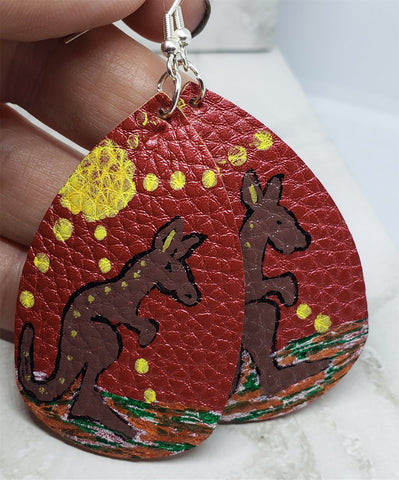 Australia Kangaroo in the Sun FAUX Leather Teardrop Shaped Earrings