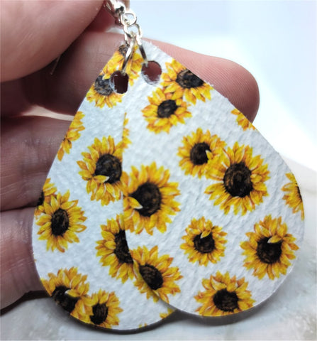 Sunflowers Printed on White Real Leather Teardrop Earrings