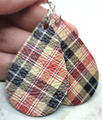 Red, Tan and Black Plaid Real Leather Teardrop Earrings with Surgical Steel Earwires