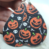 Jack o' Lanterns and Bones Printed on Black Real Leather Teardrop Earrings