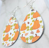 Autumnal Pumpkins Printed on White Real Leather Teardrop Earrings
