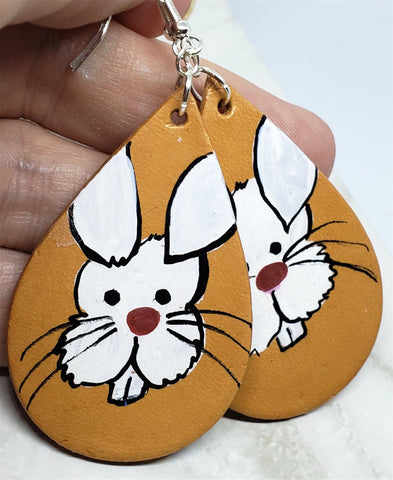 Hand Painted White Bunny Leather Teardrop Shaped Earrings